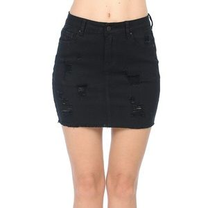 NWT Black Ripped Jean Skirt